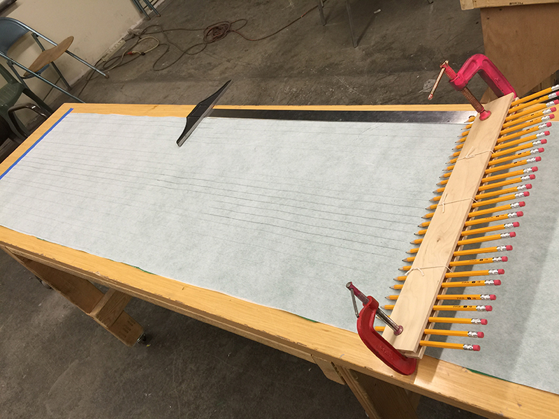 Prepping the fabric for cutting