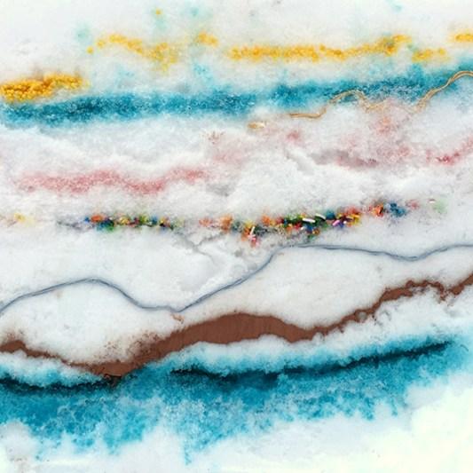 Snow Sugar Strata, 2015. Snow, tinted sugar, colored sprinkles, cocoa powder, plant food, sugar pearls, embroidery thread. 25 x 15 inches. Cambridge, MA © Freedom Baird