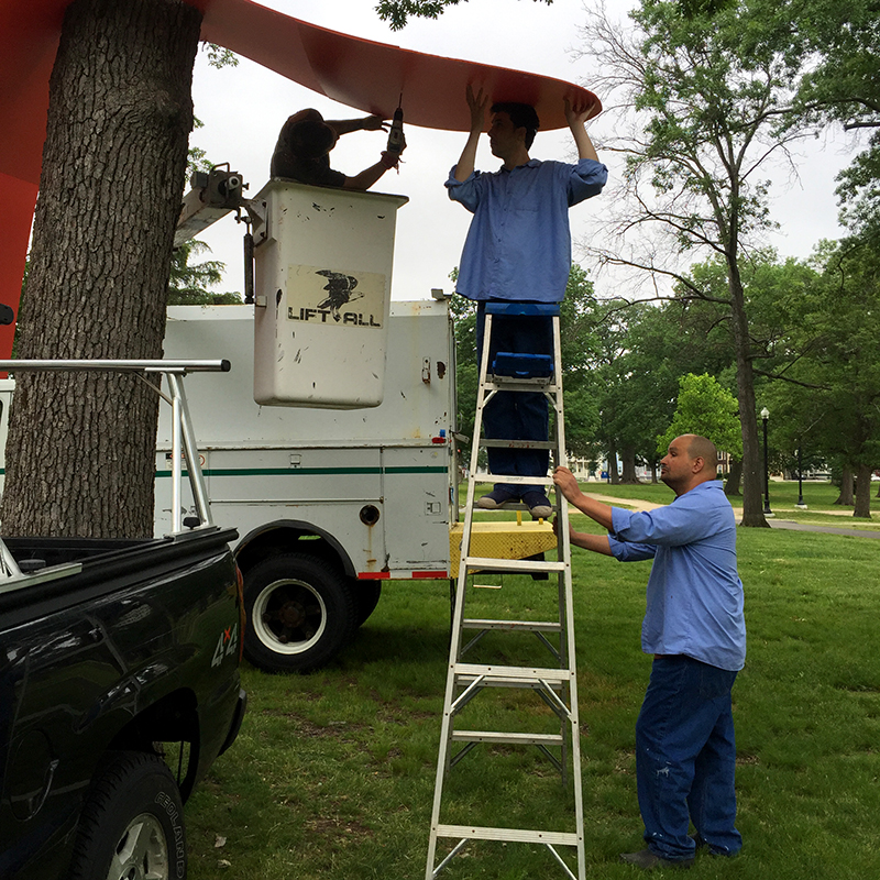 Installation of Two Oaks Spanner with help from the Worcester Parks & Recreation crew. Freedom Baird