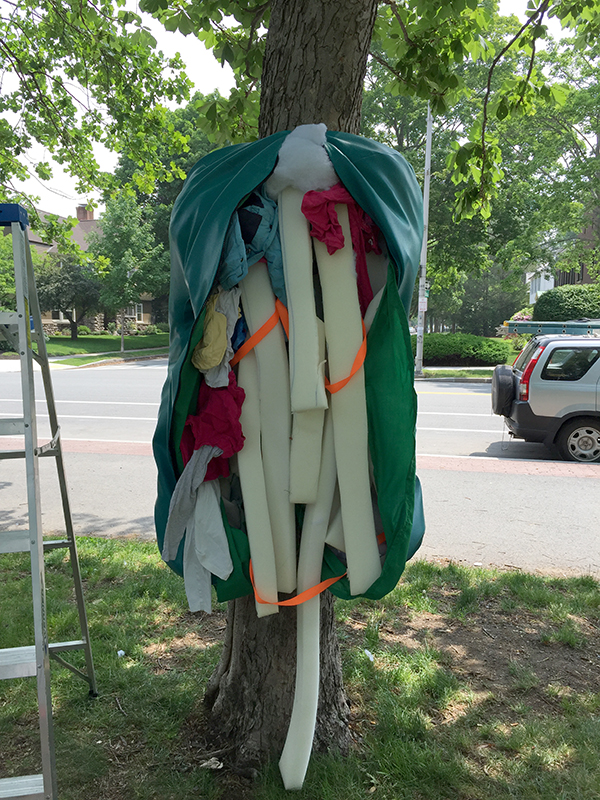Stuffing for Touch Punch Trunk includes polyester fiber, strips of mattress foam, and old clothes. Freedom Baird