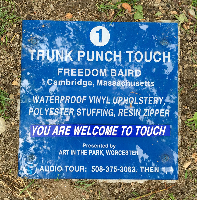 Signage for Touch Punch Trunk, Art in the Park 2015, Worcester, MA. Freedom Baird