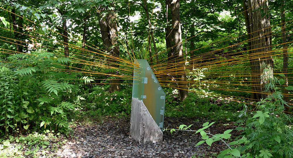 """Node Hissed by Freedom Bairdinstalled in Studios Without Walls """"Beyond Boundaries"""" exhibition,Upper Falls Greenway, Newton, MA, Summer 2018. Photograph courtesy of Wendy Wolf"""