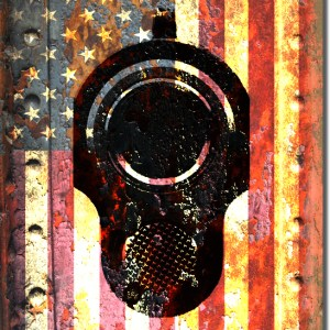 M1911 Colt Pistol 45 caliber Muzzle on American Flag Print