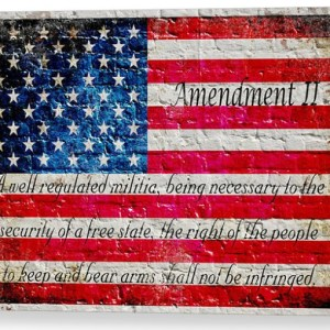 This beautiful print depicts a vintage, distressed American Flag with the text of the Second Amendment in the lower half of the Flag painted on a whitewashed brick wall.
