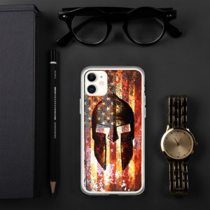iPhone Case - Molon Labe - Spartan Helmet on Rusted American Flag