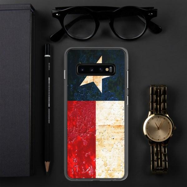 Samsung Galaxy S10+ Case Texas flag on Rust Print