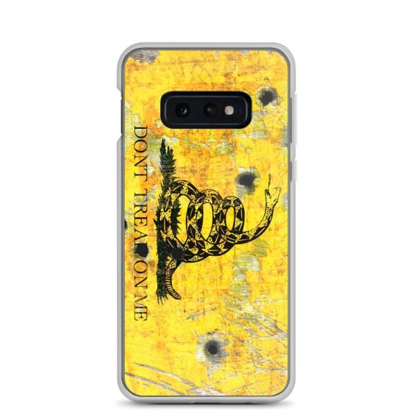 Samsung Galaxy S10e Case – Gadsden Flag on metal with bullet holes
