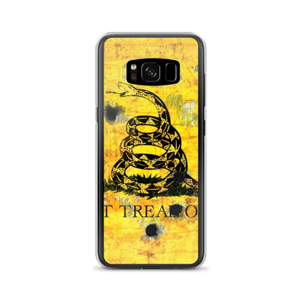 Samsung Galaxy S8 Case - Gadsden Flag on metal with bullet holes
