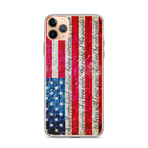 iPhone 11 Pro Max Case – American Flag & 2nd Amendment on Brick Wall Print