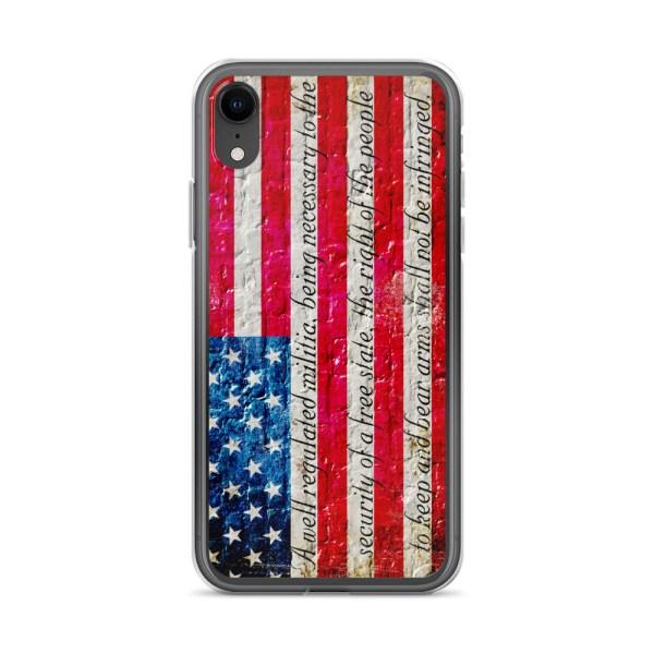 iPhone XR Case – American Flag & 2nd Amendment on Brick Wall Print
