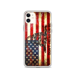 Don't Tread On Me – Gadsden & American Flag Composition on iPhone 11 case