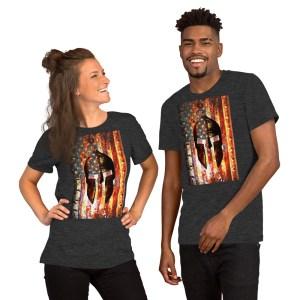 Dark Grey Heather Unisex T-Shirt Molon Labe Spartan on Rust