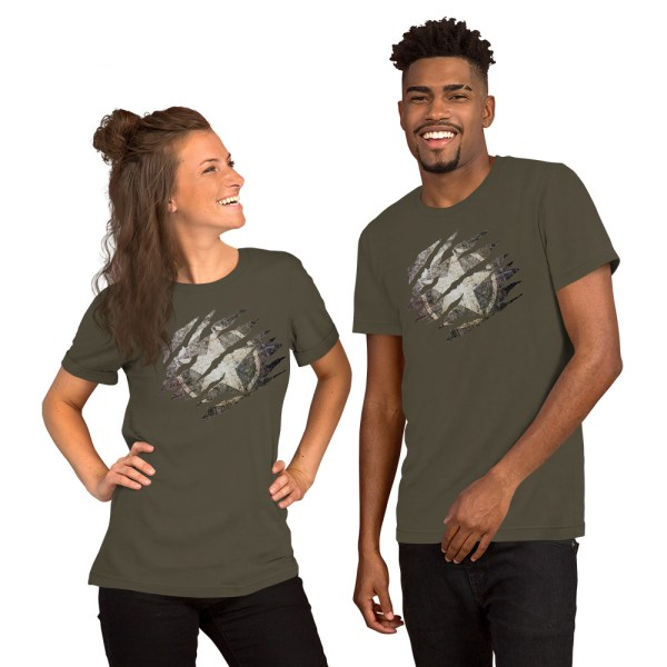 Short-Sleeve Unisex Army T-Shirt Torn Distressed Army Star on Steel