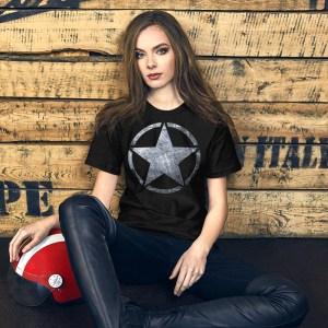 Short-Sleeve Unisex Black heather T-Shirt Army Star on Riveted Steel