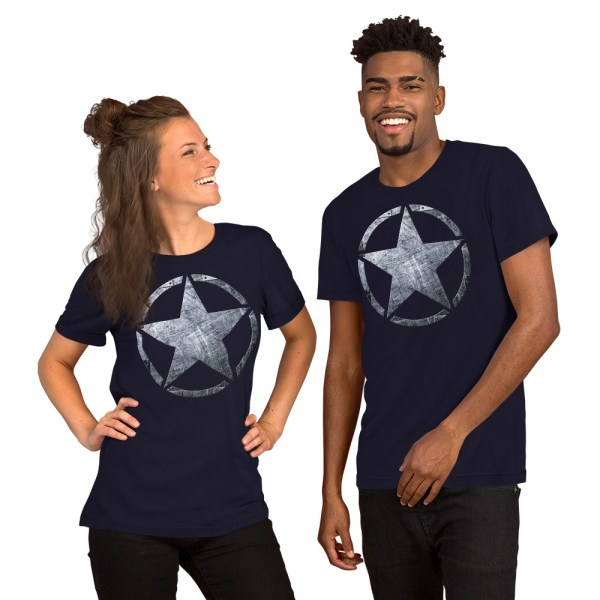 Couple with our Short-Sleeve Unisex navy T-Shirt Army Star on Riveted Steel