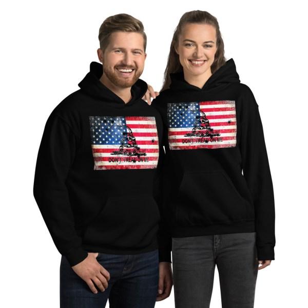 Black Hoodie Don't Tread on me Bullet Hole on American Flag