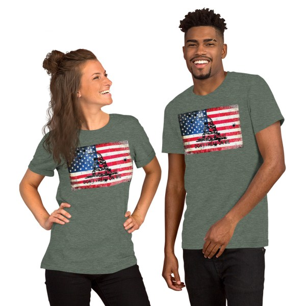 Heather Grey T-Shirt Don't Tread on me Bullet Hole on American Flag