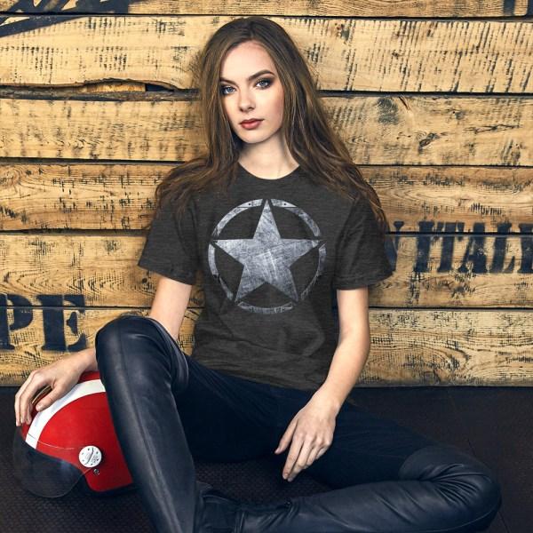 Short-Sleeve Unisex Dark Grey Heather T-Shirt Army Star on Riveted Steel