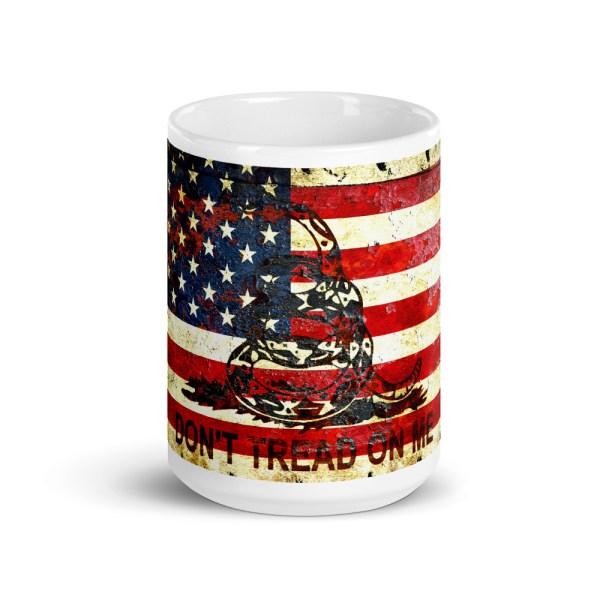 15oz Mug - Don't Tread On Me – Gadsden & American Flag Composition
