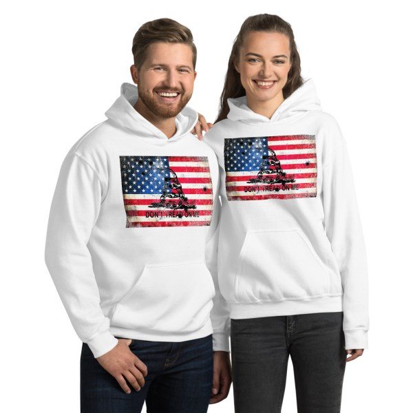 White Hoodie Don't Tread on me Bullet Hole on American Flag