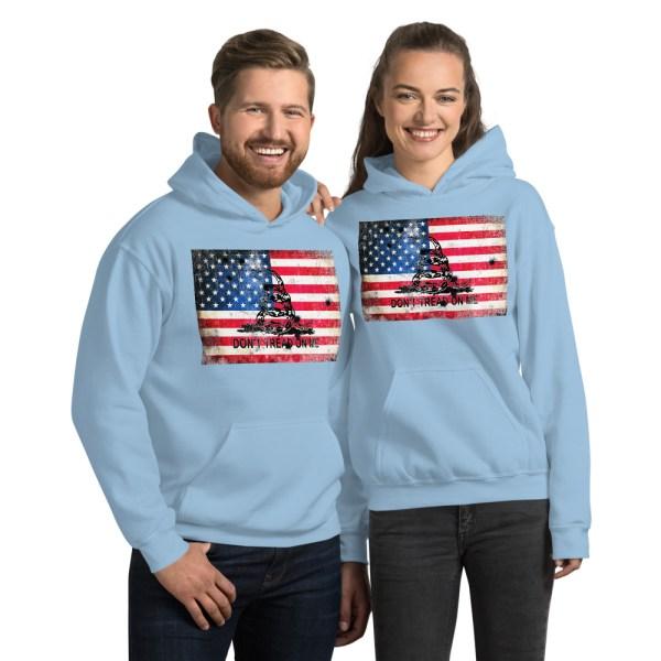 Blue Hoodie Don't Tread on me Bullet Hole on American Flag