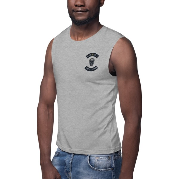 Mad, Bad and Dangerous Rockers with Skull Athletic Heather Muscle Shirt Front