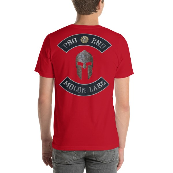 Red Pro 2nd Amendment Molon Labe with Spartan Helmet Short-Sleeve Unisex T-Shirt