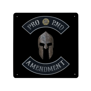 Pro 2nd Amendment with Spartan Helmet Plaque - Made in USA Print on Metal