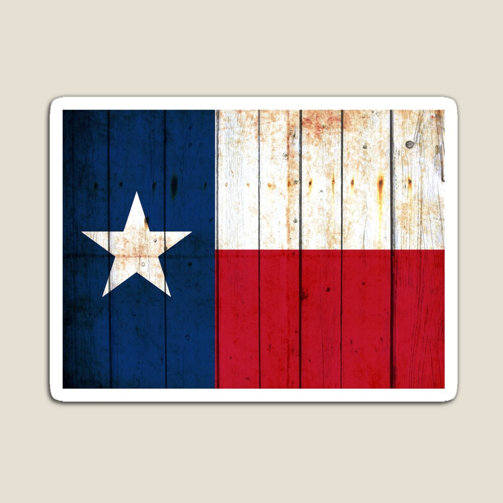 Texas Flag on Old Barn Wood Magnet