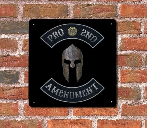 Pro 2nd Amendment with Spartan Helmet Plaque – Made in USA Print on Metal