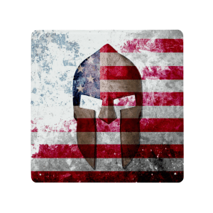 Molon Labe - Spartan Helmet on Distressed American Flag - Made in USA Print on Metal