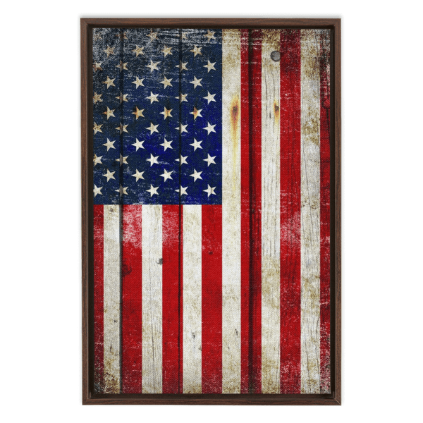 Distressed American Flag painted on old barn wood with a vertical inclination printed on Artist-grade poly-cotton blend canvas hung