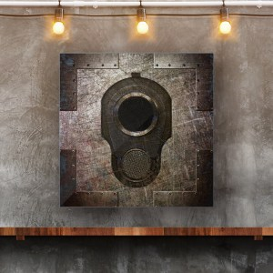 This beautiful art print on metal sheet depicts the muzzle of the famous Colt45 M1911 on a Riveted Metal panel.