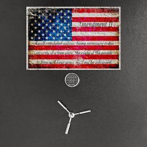 Gun Safe Magnet - American Flag & 2nd Amendment Printed on a Small Metal Plate - Metal Cabinet Magnet - Large Fridge Magnet
