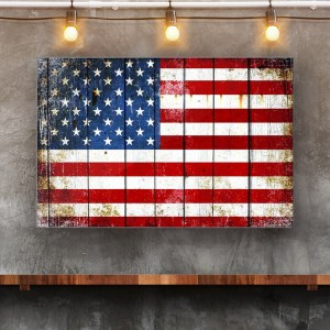 This beautiful print depicts a Distressed American Flag on Old Barn Wood printed on metalin Situ