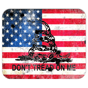 Don'T Tread On Me - American And Gadsden Flags With Bullet Holes Composition Mouse Pad