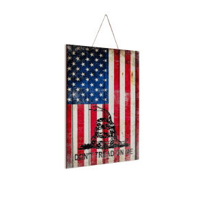 """Gadsden and American Flag Mix Print on Wood 8"""" x 12"""" - Made in America"""