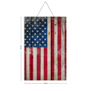 """Distressed Vertical American Flag and on 12"""" by 8"""" sheet of pine wood."""