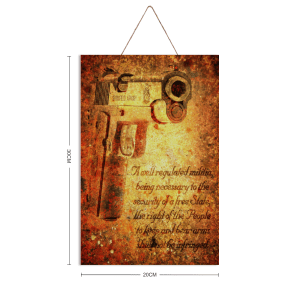 This beautiful print depicts an M1911 pistol on a sand colored background with the text of the 2nd Amendment and is printed on 12″ by 8″ sheet of pine wood. 1 size is available: 12 inches by 8 inches.
