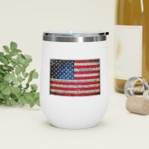 2nd Amendment and American Flag on Brick Print on 12oz Insulated Wine Tumbler