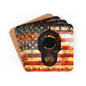 Pro 2A Barware and Drinkware - 2nd Amendment on Distressed American Flag Print Corkwood Coaster Set - Set of 4