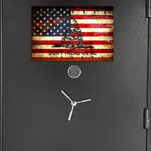 Don't Tread on Me Gun Safe Magnet - American and Gadsden Flag Printed on Metal Cabinet Magnet