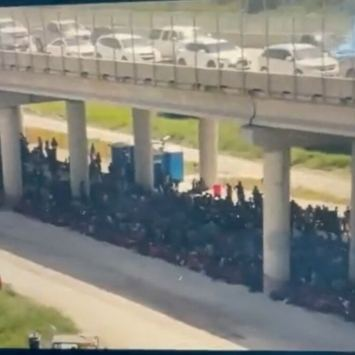 WATCH: New Drone Video Shows Herds of Immigrants Being Held Under Bridge in Texas