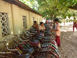Students parking their bicycles in the morning
