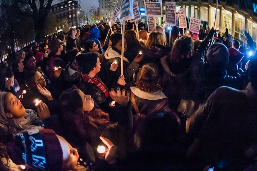 Candlelit Vigil for Michael Brown US Embassy