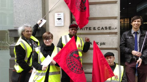 IWW Picket of White and Chase Source @LondonIWW