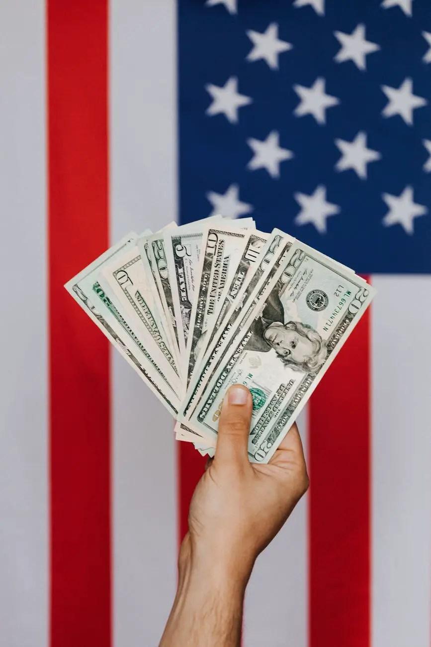crop person demonstrating dollars against american flag