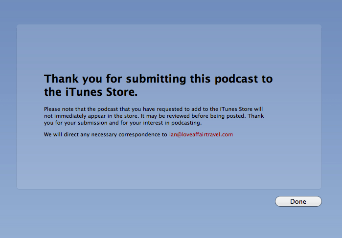 Successful iTunes feed submission