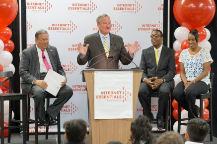 Philadelphia Mayor Jim Kenney, Comcast Internet Essentials 2016 Back to School event, Olney Elementary School