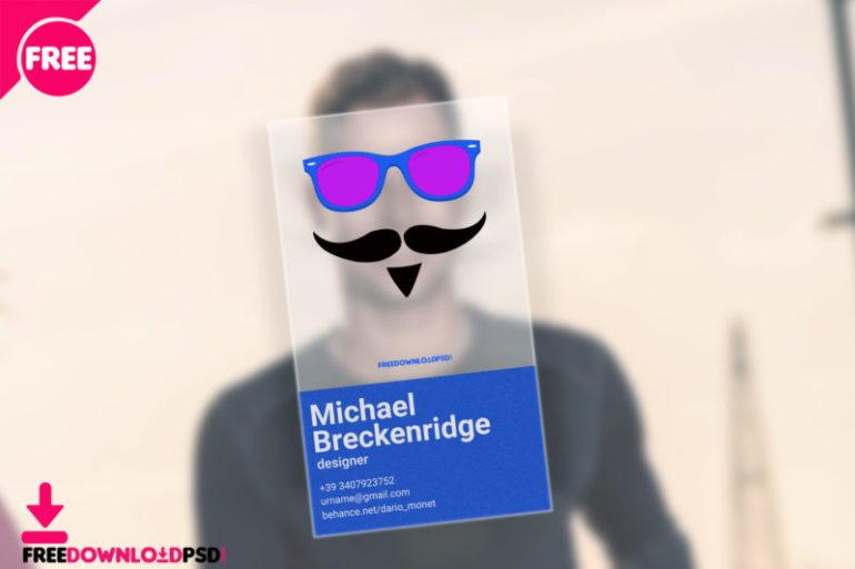 Transparent business card free psd